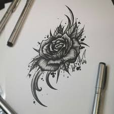 тату эскиз роза и орнамент эскиз нарисован лайнерами Superior и