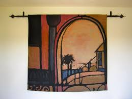 placed hanging rod for tapestry