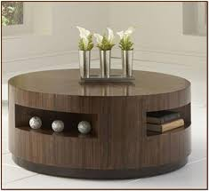 remarkable dark brown round contemporary wood round coffee tables with storage laminated design