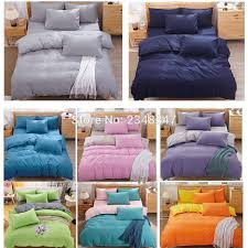 whole fashion solid color single twin double full queen size bed quilt duvet cover set blue gray yellow pink green orange purple duvet covers bedding