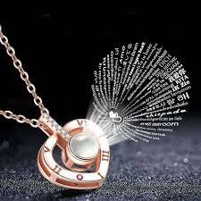 romantic round heart love memory wedding necklace rose