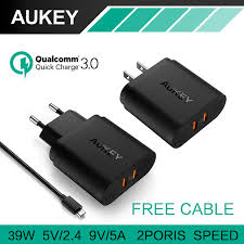 iphone quick charge. aukey quick charge 3.0 wall charger 2 usb travel fast charging for samsung galaxy s8/ iphone e