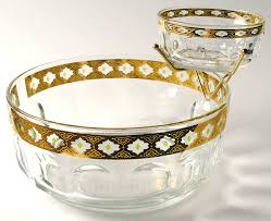 culver valencia chip and dip bowls with metal holder