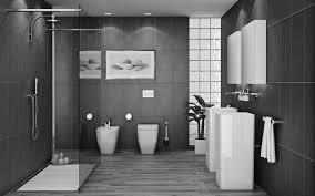 grey tile bathroom wall color for small shower with sliding glass door and wall decorations