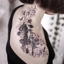 birds tattoo on shoulder. Perfect Birds Flower And Bird Shoulder Tattoo  55 Awesome Shoulder Tattoos Throughout Birds Tattoo On I
