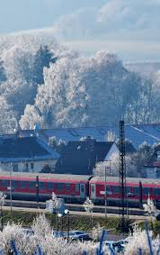 train, winter, snowfrost, houses, town ...