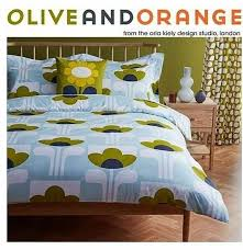 orla kiely olive orange bedding blue duvet cover set double king super king
