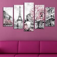 bedroom canvas art set 5 pieces in paris
