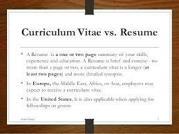 Curriculum Vitae Vs Resume Curriculum Vitae Versus Resume Title ...