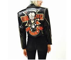 vintage black leather biker jacket betty boop