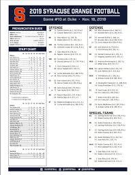 Duke Depth Chart Syracuse Orange Football Releases Depth Chart Vs Duke