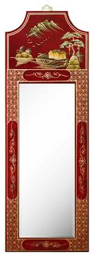 oriental mirror with red lacquer finish