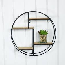 black wood metal round wall shelf shelves shelf unit black metal