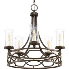 soiree collection 5 light antique bronze chandelier with clear seeded glass