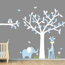 wall art ideas design unique stickers nursery decals branch of wood blue color contemporary flower blossom