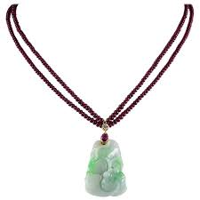 natural ruby diamond carved apple jade necklace for