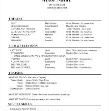Acting Resume Sample Interesting Talent Resume Template Acting Resume Template For Free Actor Resume