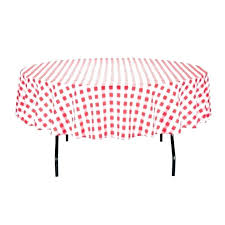 round black and white checd plastic tablecloth top red
