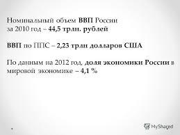 Презентация на тему Курсовая работа по экономике на тему Роль  Экономика России 10 Номинальный