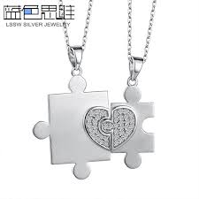 blue sweet couple necklaces personalized heart puzzle necklaces set with diamond accents brushed love pendants in sterling silver matching his and hers