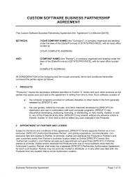 Custom Software Business Partnership Agreement Template Word Pdf