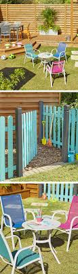 bright coloured furniture. paint fences bright colours to section off a childrenu0027s area in your garden add some coloured furniture r