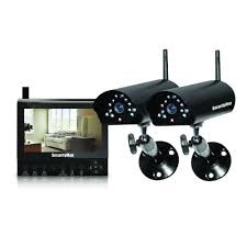 securityman 4 channel 2 wireless security system with 7 in lcd sd dvr and night vision audio digilcddvr2 the home depot