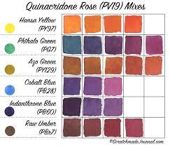 Pigment Code Chart Watercolor Comparison Quinacridone Rose Pv19 Plus A