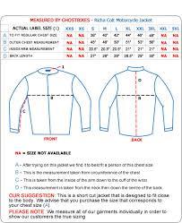 Oxford Jacket Size Chart Richa Clothing Size Guide