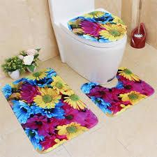 2018 set big flower colorful bathroom carpet mat non slip pedestal rug lid toilet cover bath mat fl rugs toilet from hariold 25 32 dhgate
