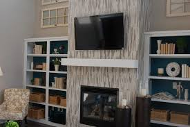white tile fireplace surround
