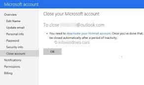 how to close delete outlook com account