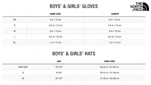 The North Face Size Chart Cm North Face Toddler Gloves Size Chart Images Gloves And