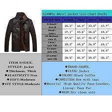 Leather Jacket Size Chart Szawsl Mens Warm Leather Fur Lining Jacket Coat Outwear Trench