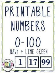 0 100 Printable Numbers Navy And Lime Green Editable