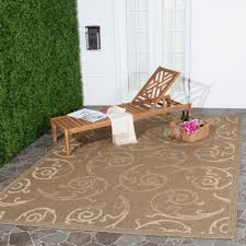 safavieh oasis scrollwork brown natural indoor outdoor rug 8 x 11
