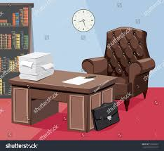 office work table. Empty Office With Documents, Work Desks And A Leather Armchair Table