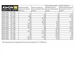 Karate Uniform Size Chart Kata Karate Uniforms 1113 12oz 1121 16oz