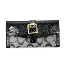 Coach Madison Embossed Buckle Large Grey Black Wallets EEQ