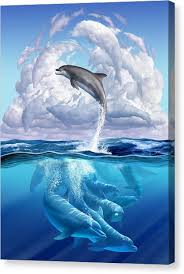 dolphin canvas print dolphonic symphony by jerry lofaro on dolphin canvas wall art with dolphin canvas prints fine art america