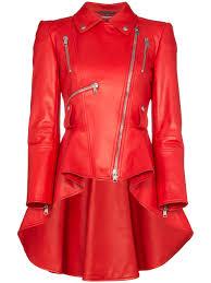 alexander mcqueen peplum leather jacket in red