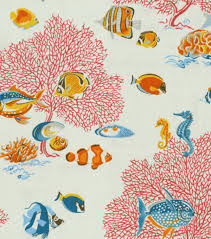 Nautical Home Decor Fabric Coral Reef Fish Fabric Stylized Retro Vintage Looking Home Decor