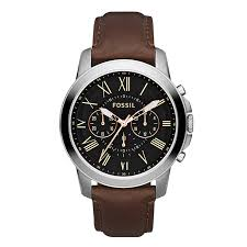 fossil grant men s black dial brown leather strap watch ernest jones fossil grant men s black dial brown leather strap watch product number 2051060