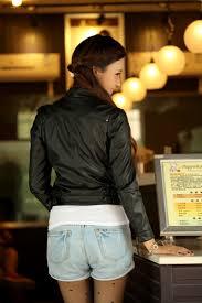 women s black slim fit short leather motorcycle biker jacket