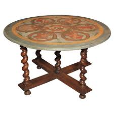 antique french walnut base with painted round table top for