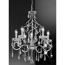 franklite fl2188 5 chiffon silver crystal chandelier