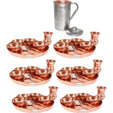 prisha india craft b set of 6 dinnerware traditional 100 pure copper dinner set of thali plate bowls glass and spoon dia 12 with 1 luxury style pitcher