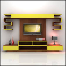 living room furniture wall units. Yellow Wall Unit Storage With Mounted LED TV For Living Room Furniture Units