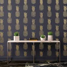more views pineapple stencil black gold wall