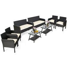 gymax 8pcs outdoor rattan furniture set